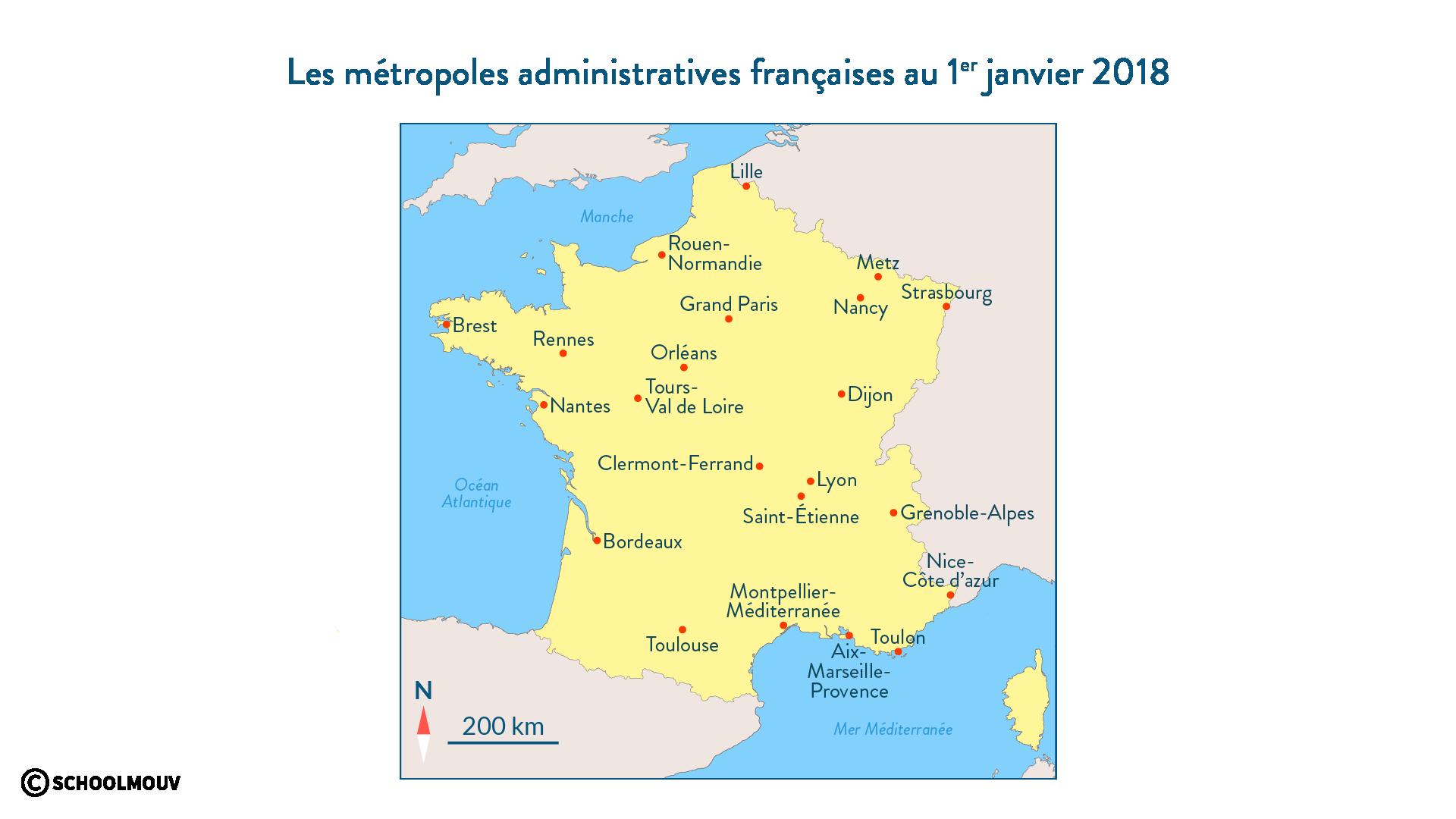 Les métropoles administratives françaises au 1er janvier 2018 - SchoolMouv - Géographie - 1re