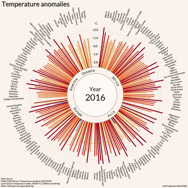 Les anomalies de températures par pays en 2016 - Antti Lipponen - Géographie - SchoolMouv - 2de