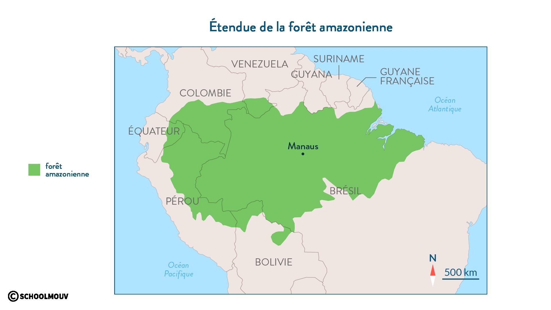 Étendue de la forêt amazonienne - SchoolMouv - géographie - 2de