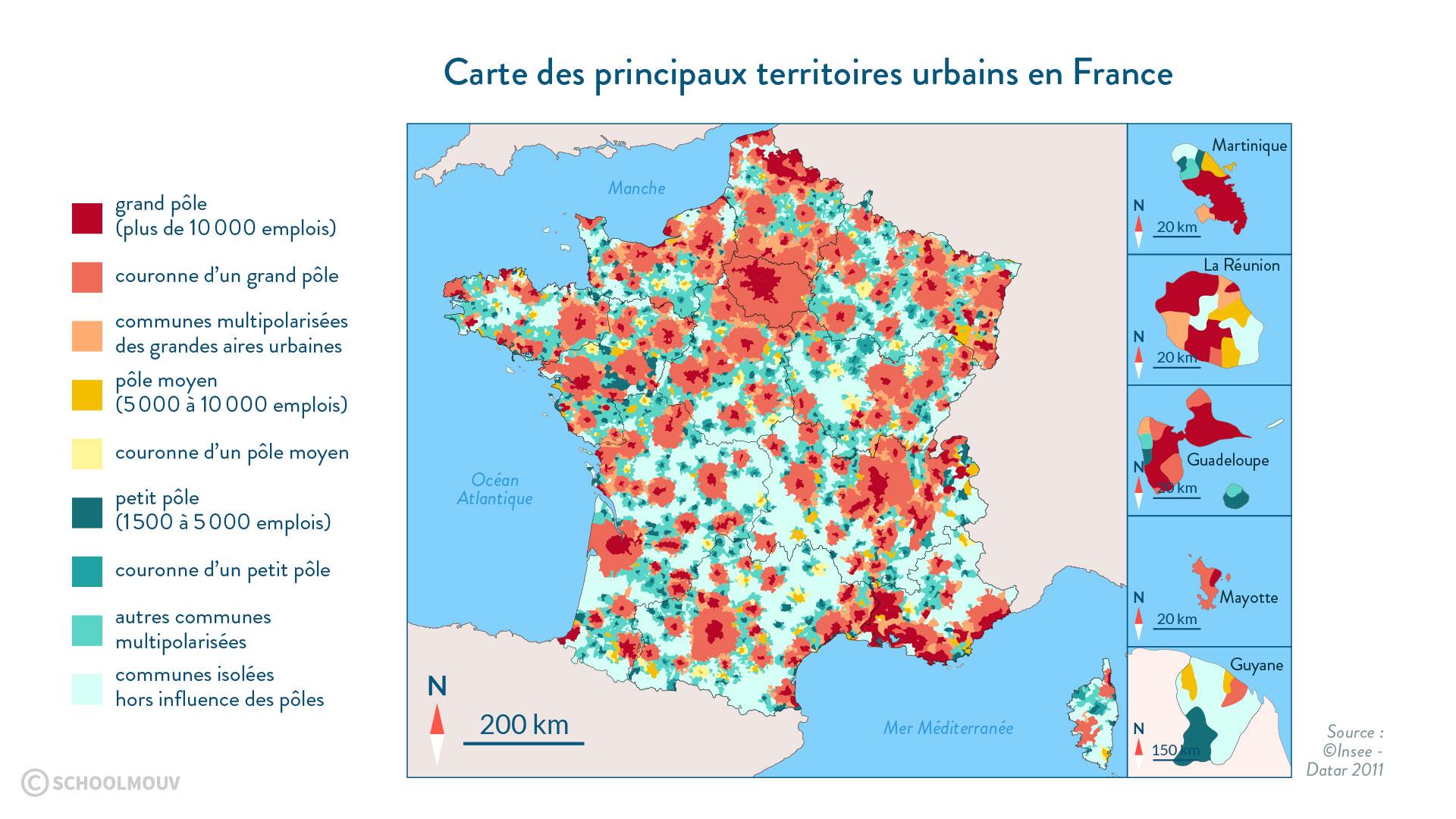 Carte des principaux territoires urbains en France - SchoolMouv - 2de - Géographie