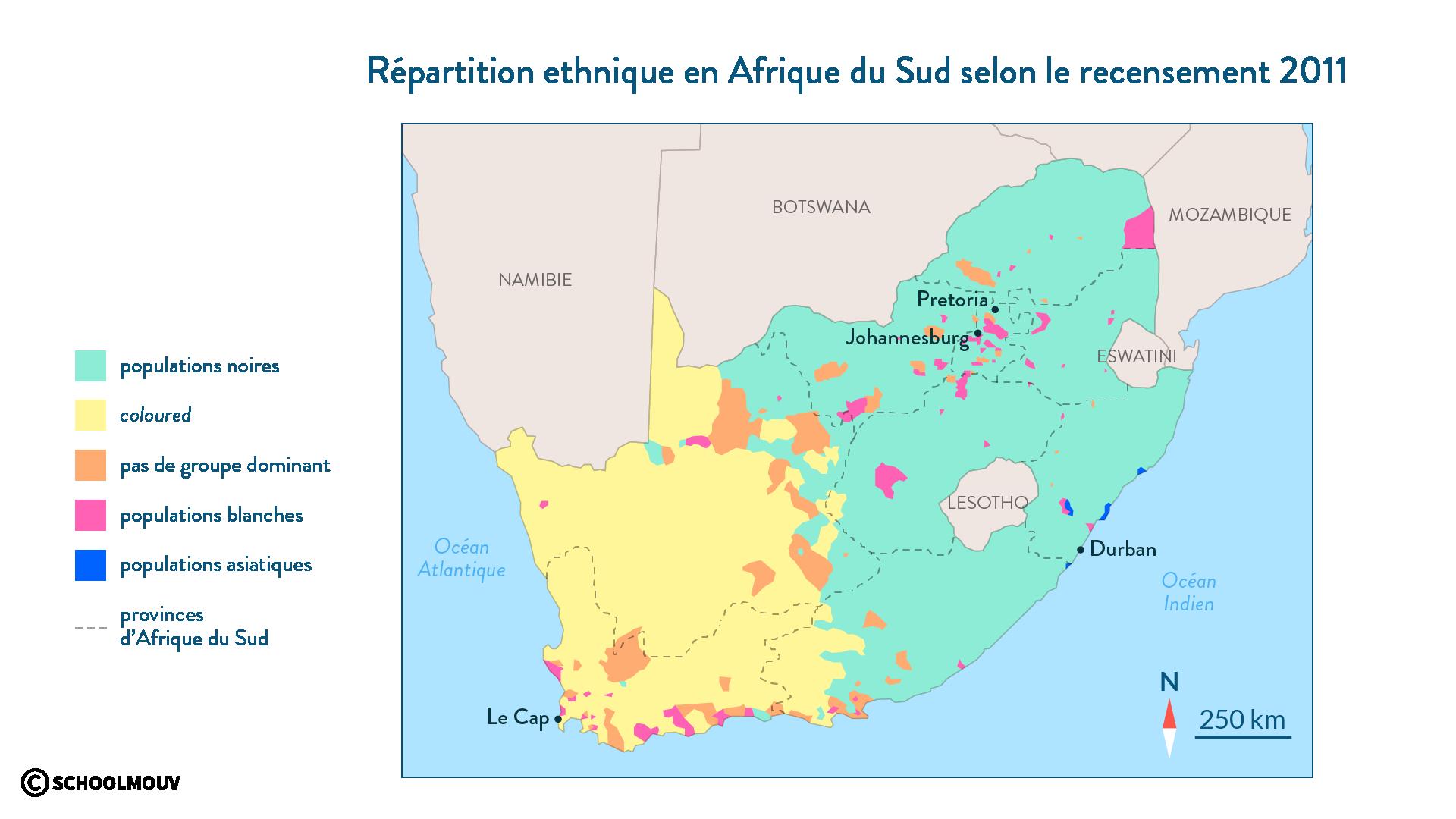 Répartition ethnique en Afrique duSud selon le recensement de 2011 - schoolmouv - 2de - géo
