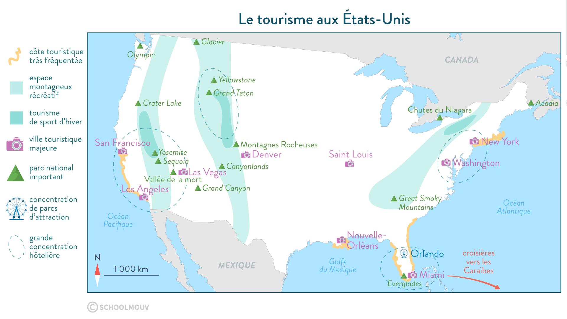Le tourisme aux États-Unis-Géographie-Seconde-SchoolMouv