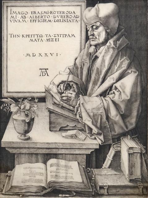 Gravure d'Albrecht Dürer représentant Érasme (1526)- histoire - 2de - SchoolMouv