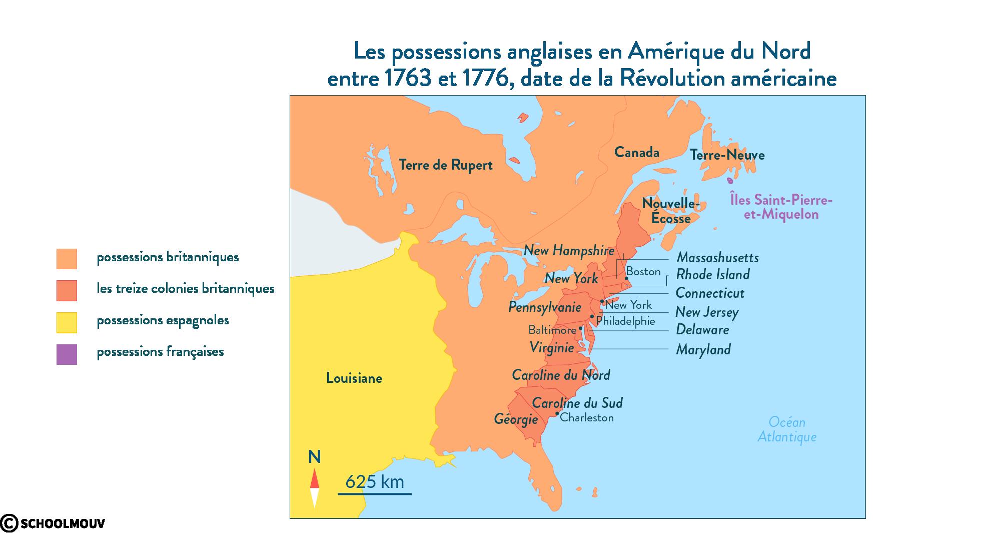 Les possessions anglaises en Amérique du Nord entre1763 et1776, date de la Révolution américaine - Histoire - SchoolMouv - 2de
