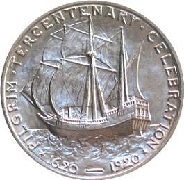 Représentation du Mayflower sur une pièce de 50 centimes de dollars, 1920 - Histoire - 2de - SchoolMouv