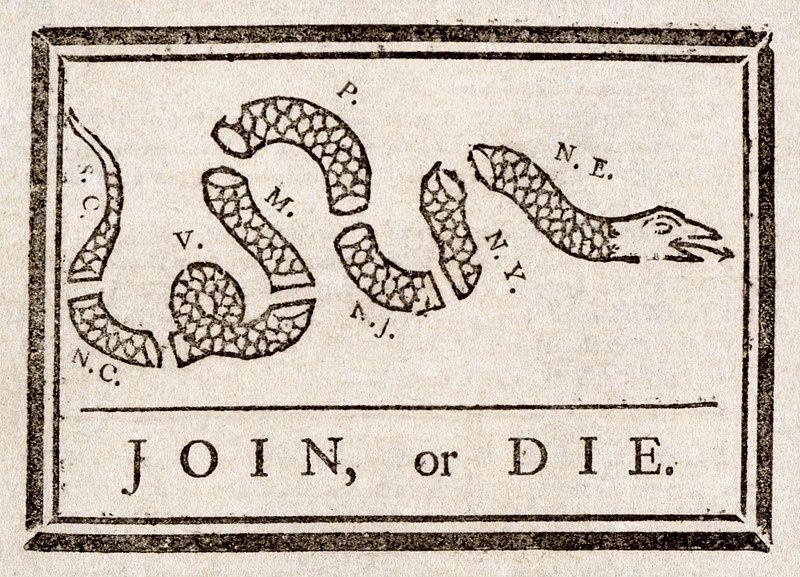«Unifiez-vous ou mourrez», dessin de presse attribué à Benjamin Franklin durant la guerre de Sept Ans - SchoolMouv - Histoire - 2de