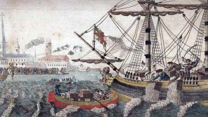 Gravure de 1789 représentant la Boston Tea Party, E. Newberry - Histoire - SchoolMouv - 2de