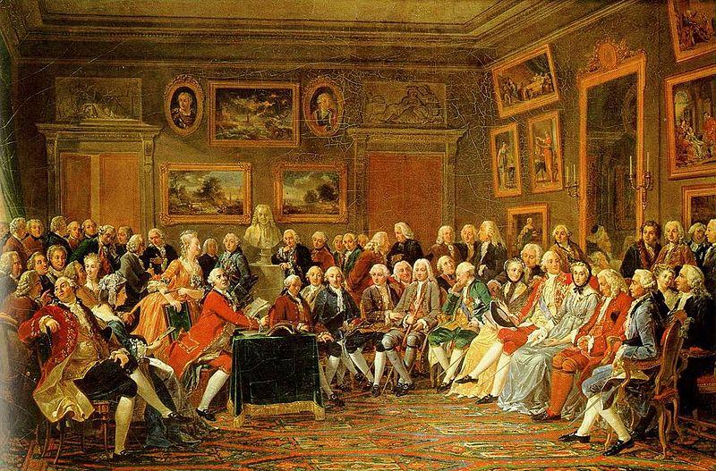 Anicet Charles Gabriel Lemonnier, Lecture de la tragédie de «l'orphelin de la Chine» de Voltaire dans le salon de madame Geoffrin à Paris en1755 - histoire - 2de - SchoolMouv