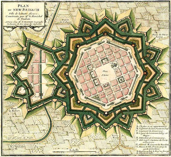 Plan préparé par Vauban pour la construction de la ville de Neuf Brisach  - SchoolMouv - Hist - 2de