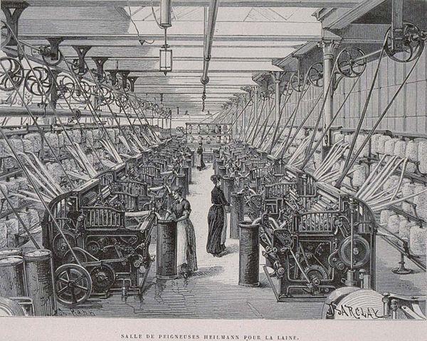 Un atelier de peignage de la laine. Armand Kohl, 1889 - Histoire - 2de - SchoolMouv