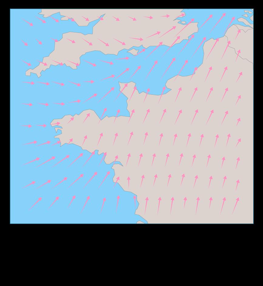 Direction, sens et intensité du vent au-dessus de la Manche