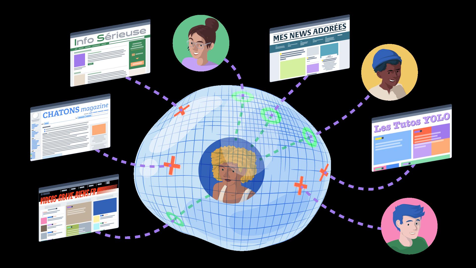 bulle de filtre illustration réseaux sociaux social media