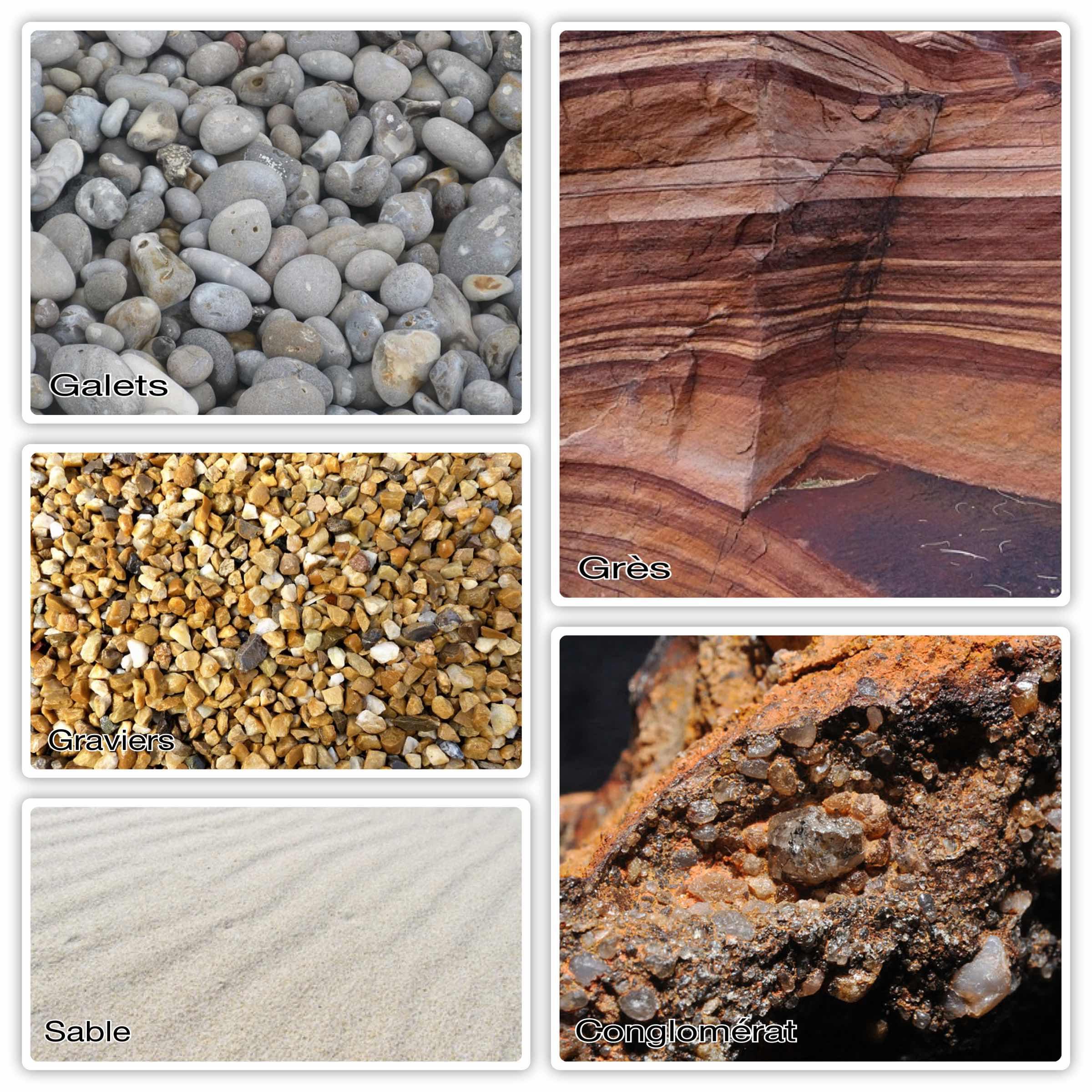 Différents types de roches détritiques