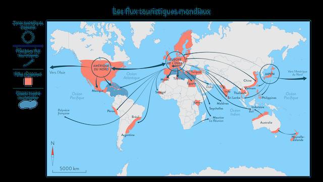 carte flux touristiques mondiaux