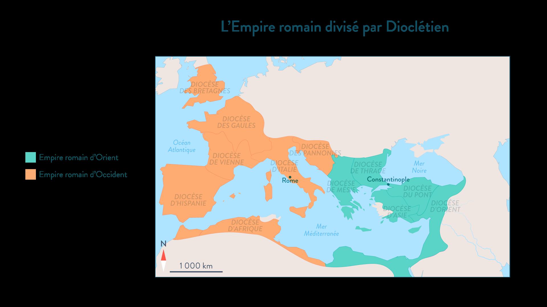 L'Empire romain divisé par Dioclétien - Histoire - 2de - SchoolMouv