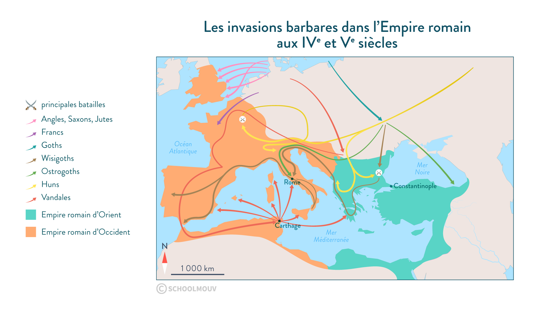 Carte des invasions barbares - histoire - 2de - SchoolMouv