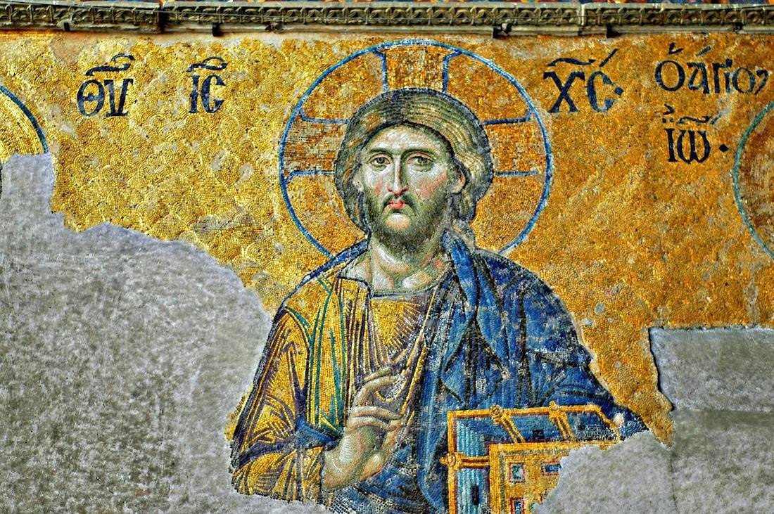 Jésus-Christ dans une mosaïque byzantine de la basilique Sainte-Sophie, Constantinople - Histoire - 2de