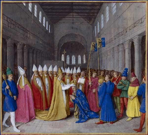 Jean Fouquet, Sacre de Charlemagne, vers 1455, BNF - Histoire - 2de - SchoolMouv