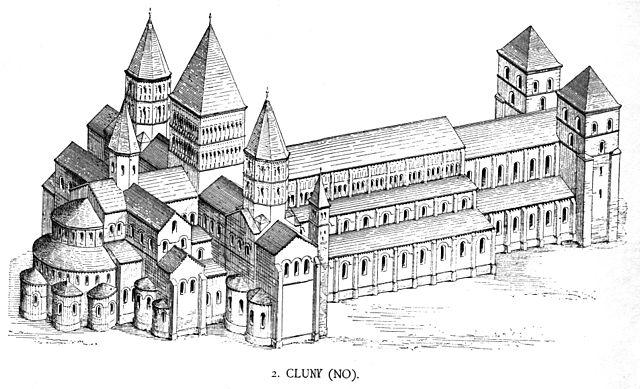Représentation de l'abbaye de Cluny par Georg Dehio et Gustav von Bezold, vers 1880 - Histoire - 2de - SchoolMouv