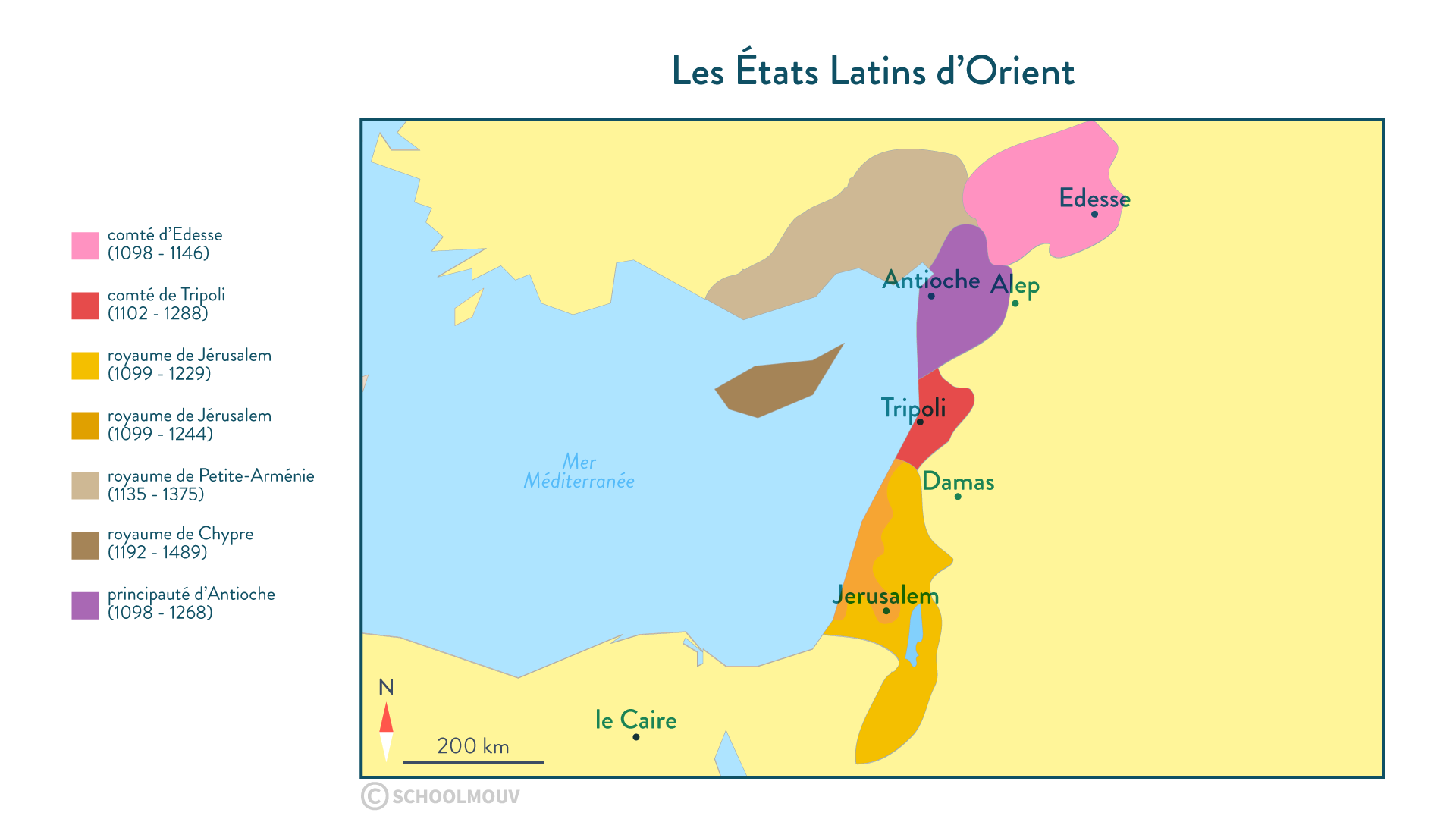 Carte des Etats Latins d'Orient - Histoire - SchoolMouv - 2de
