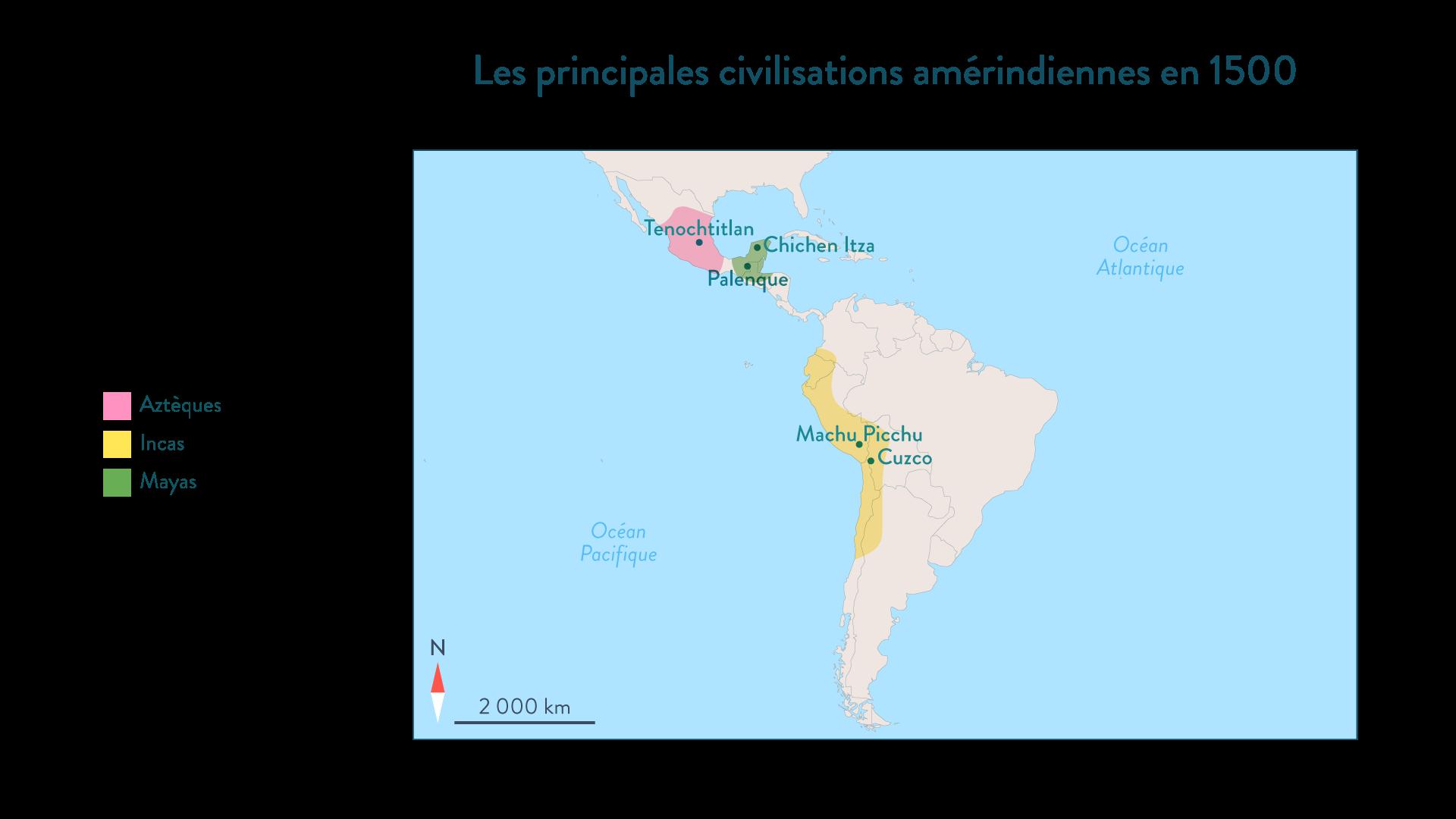 Carte des principales civilisations amérindiennes en1500 - Histoire - 2de - SchoolMouv