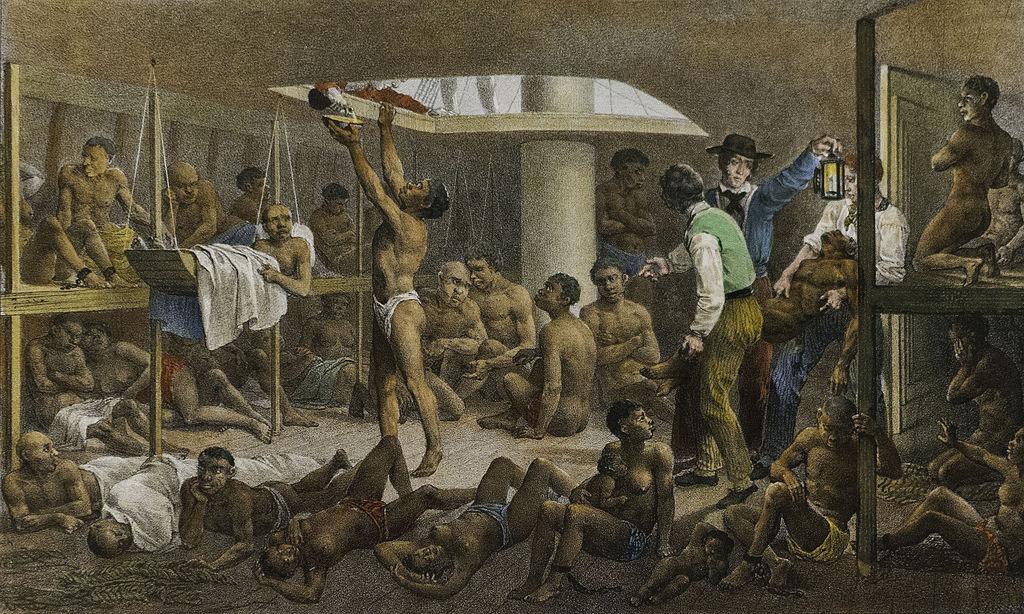 Des esclaves dans la cale d'un navire négrier - SchoolMouv - Histoire - 2de