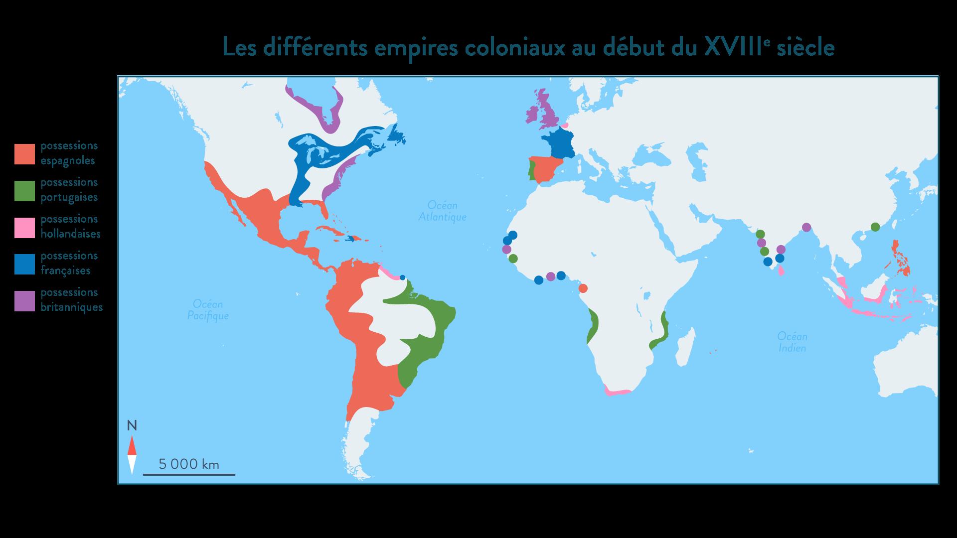 Carte des différents empires coloniaux au début du XVIIIe siècle - Histoire - SchoolMouv - 2de