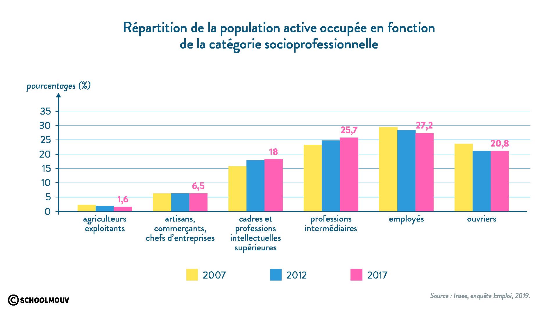 répartition population active occupée catégorie socioprofessionnelle