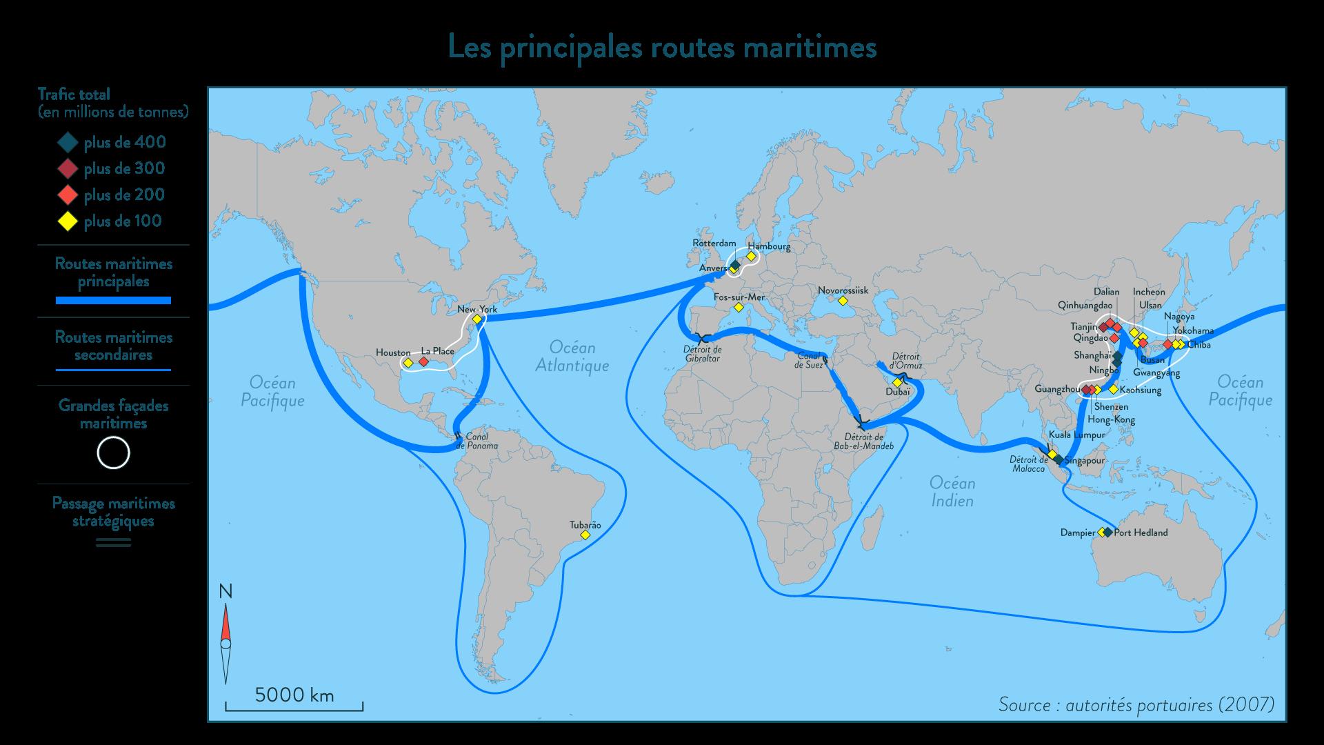Les principales routes maritimes - SchoolMouv - géographie - 4e