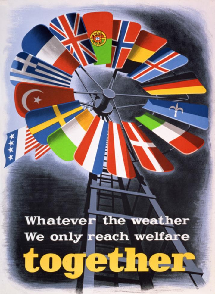 Affiche vantant la politique de reconstruction américaine via le Plan Marshall - SchoolMouv - Histoire - terminale
