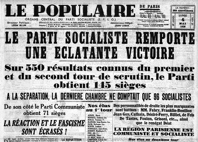 Une du Populaire annonçant la victoire du Front Populaire - Histoire - terminale - SchoolMouv
