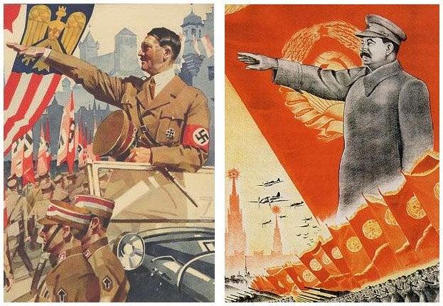 Deux posters de propagandes sur le culte du chef, montrant Hitler et Staline - SchoolMouv - Histoire - Terminale