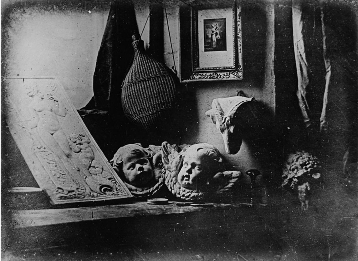 Image numérique histoire photographie L'atelier de l'artiste, daguerréotype, Louis Jacques Mandé Daguerre, 1837