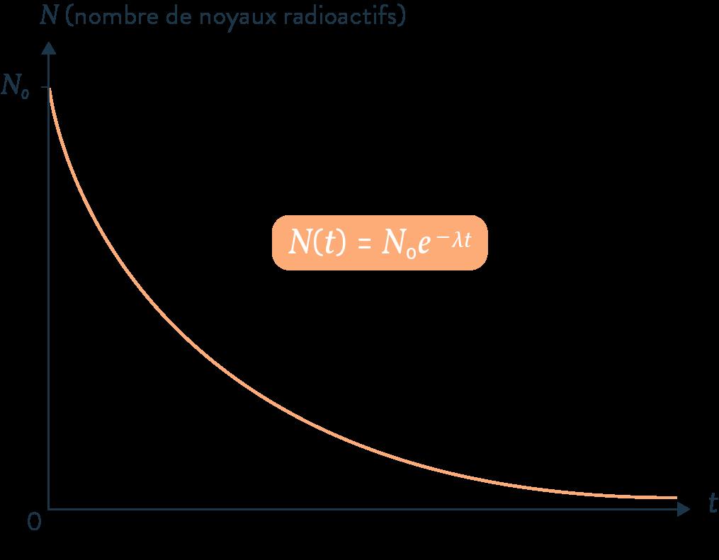 évolution d'une population de noyaux radioactifs loi exponentielle de décroissance radioactive