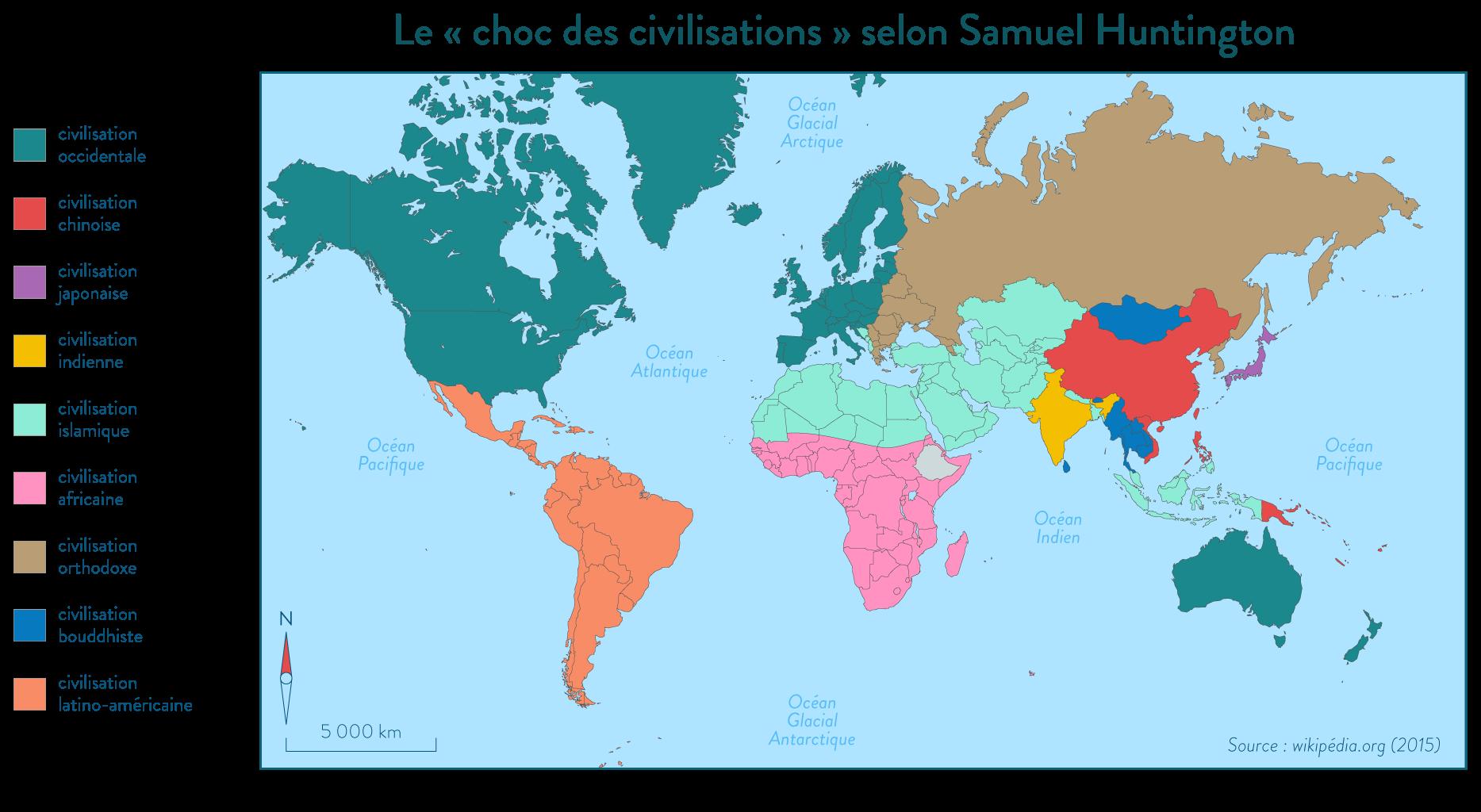 Carte des chocs des civilisations Samuel Huntington
