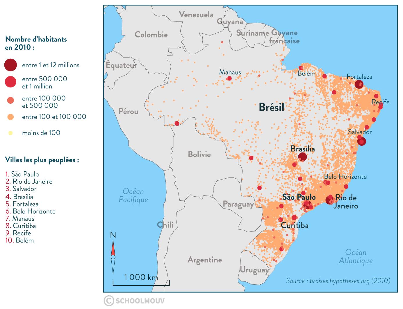 Répartition population Brésil territoire