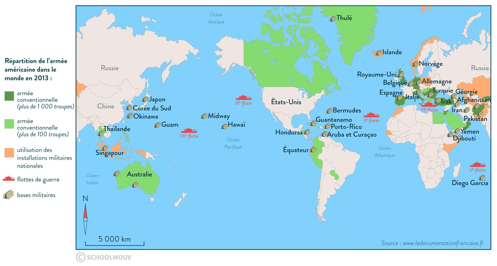 répartition armée américaine dans monde