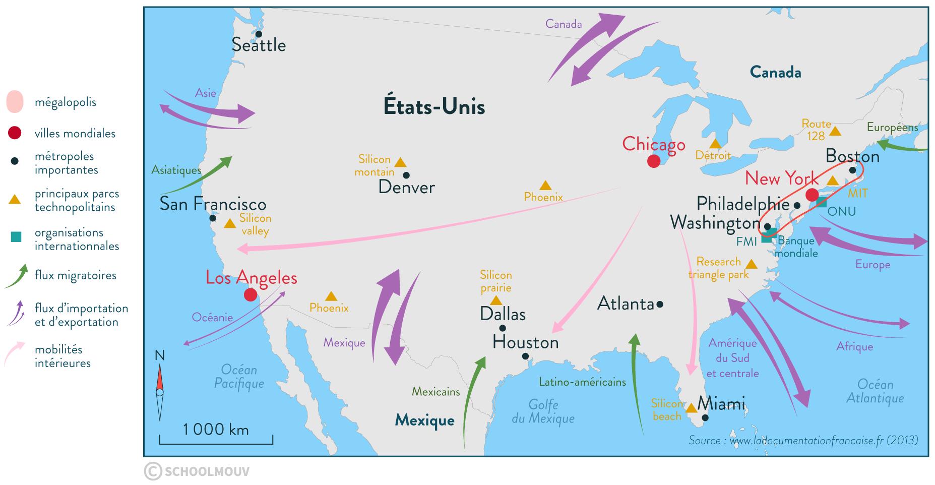 États-Unis puissance économique mondiale carte géographie terminale