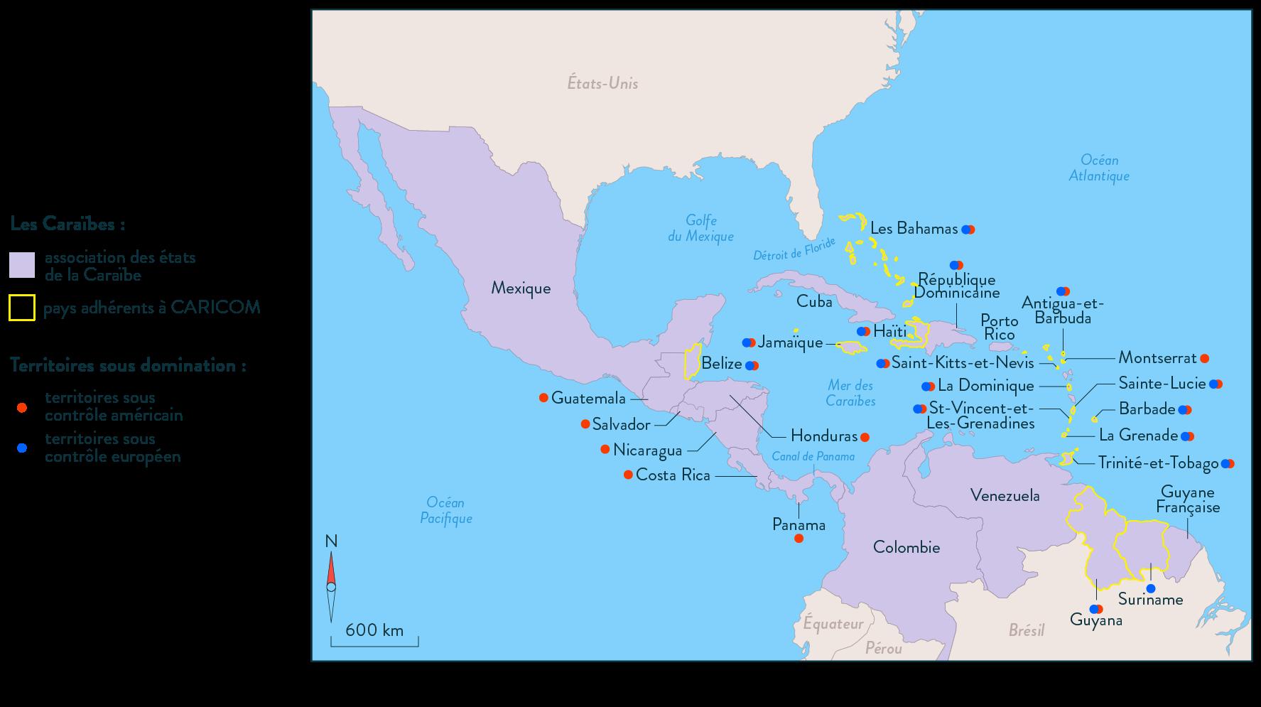 carte Caraïbes territoires sous domination