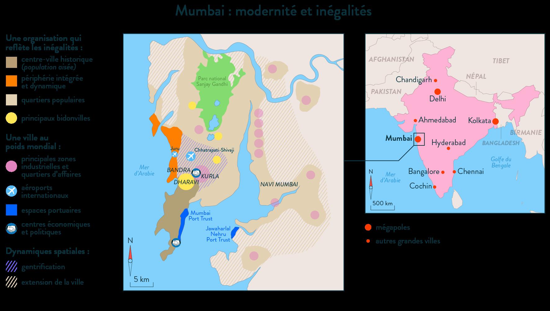 Mumbai modernité inégalités carte
