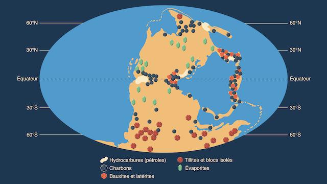 Répartition roches sédimentaires Permo-Carbonifère variations climatiques atmosphériques temps géologiques