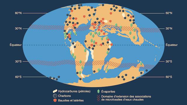 Répartition roches sédimentaires Crétacé Supérieur variations climatiques atmosphériques temps géologiques